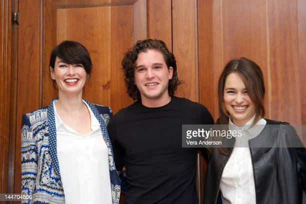Lena Headey Kit Harington and Emilia Clarke at the 'Game Of Thrones' Press Conference at The Grosvenor House Hotel on May 14 2012 in London England