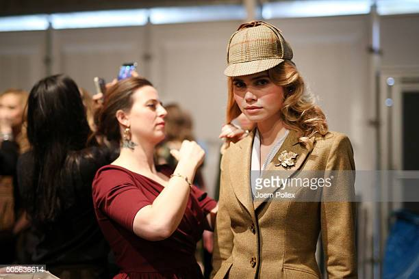 Lena Hoschek and a model are seen backstage ahead of the Lena Hoschek show during the MercedesBenz Fashion Week Berlin Autumn/Winter 2016 at...