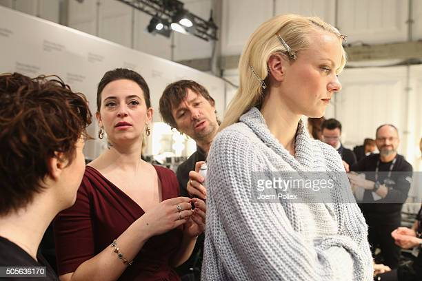 Lena Hoschek and Franziska Knuppe are seen backstage ahead of the Lena Hoschek show during the MercedesBenz Fashion Week Berlin Autumn/Winter 2016 at...