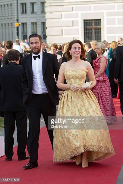Lena Hoschek and her husband Mario Frajuk attend the gala event 450 years Spanische Hofreitschule on June 26 2015 in Vienna Austria