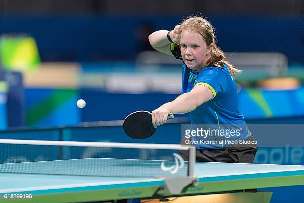 Lena Kramm of BSV München/Bayern [paralympic classification CL9] giving all in the match against Guiyan Xiong on Day 2 of the Rio 2016 Paralympic...