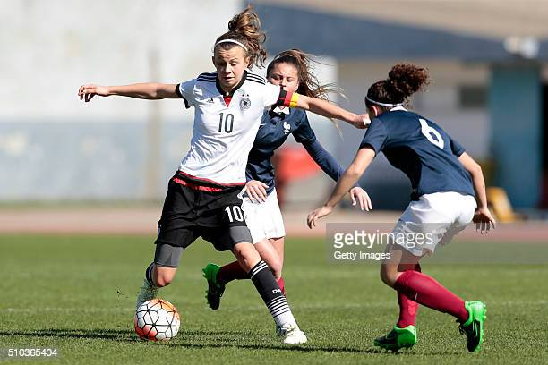 Lena Lattwein of Germany callenges Cloé Philippe of France during the match of the U16 Girl's Germany v U16 Girl's France UEFA Tournament on...