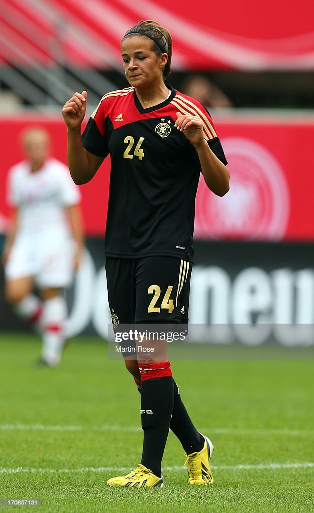 Lena Lotzen of Germany reacts during the Women's International Friendly match between Germany and Canada at Benteler Arena on June 19, 2013 in Paderborn, Germany.