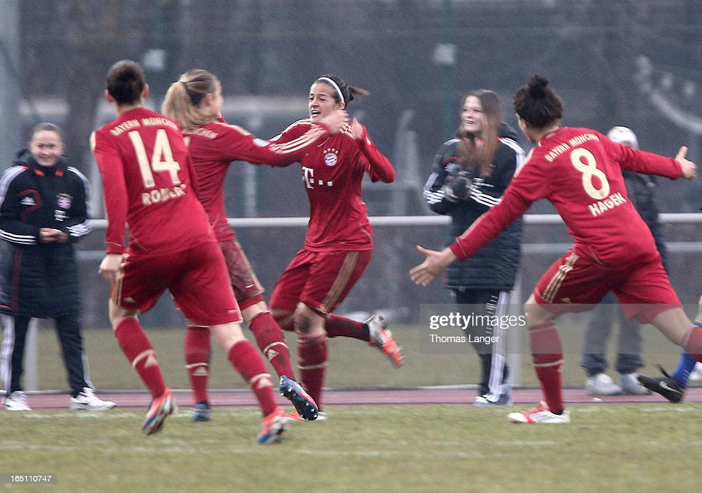 Lena Lotzen of Munich (C) celebrates after the 1-0 goal during the Women's Soccer Bundesliga Match between Bayern Muenchen and 1. FFC Turbine Potsdam on March 30, 2012 in Aschheim, Germany.