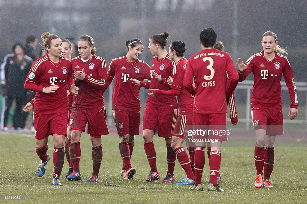 Lena Lotzen of Munich (C) celebrates with teammates after the 2-0 goal during the Women's Soccer Bundesliga Match between Bayern Muenchen and 1. FFC Turbine Potsdam on March 30, 2012 in Aschheim, Germany.