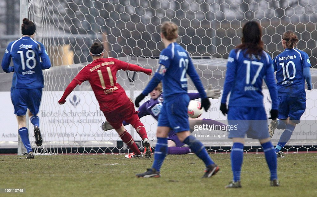 Lena Lotzen of Munich scores the 1-0 goal during the Women's Soccer Bundesliga Match between Bayern Muenchen and 1. FFC Turbine Potsdam on March 30, 2012 in Aschheim, Germany.