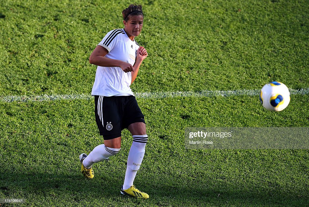 <a gi-track='captionPersonalityLinkClicked' href=/galleries/search?phrase=Lena+Lotzen&family=editorial&specificpeople=4620343 ng-click='$event.stopPropagation()'>Lena Lotzen</a> shoots at goal during the training session of Germany at Vaxjo Arena on July 20, 2013 in Vaxjo, Sweden.