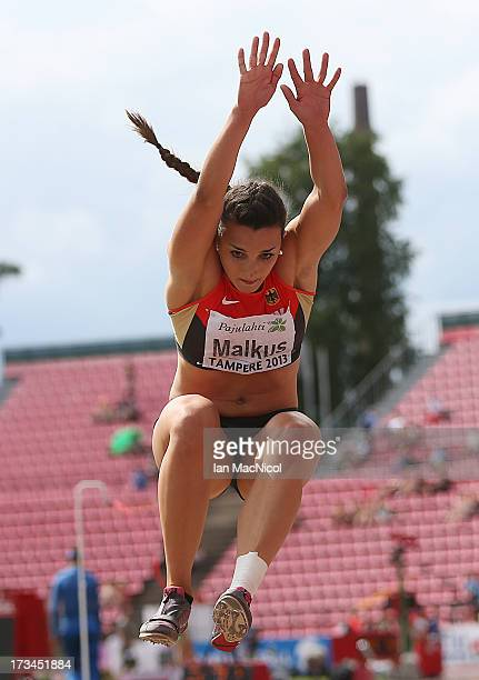 Lena Malkus of Germany competes in the final of the Women's Long Jump during day four of The European Athletics U23 Championships 2013 on July 14...