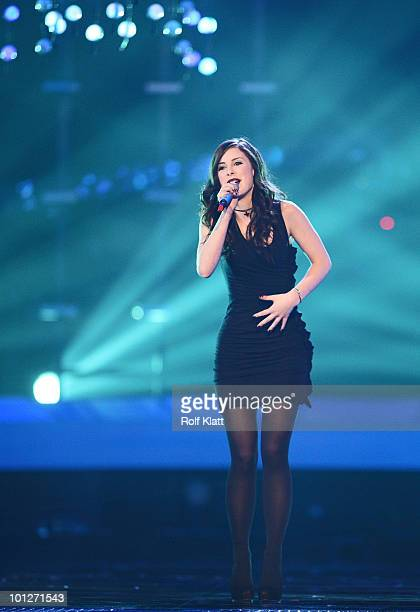 Lena Meyer Landrut of Germnay performs her song 'Sattelite' during the third dress rehearsal of the Grand Final of the Eurovision Song Contest 2010...