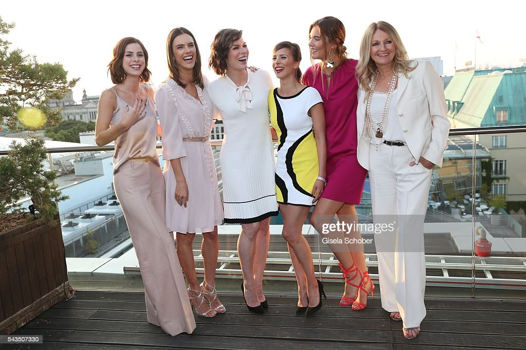 Lena Meyer-Landrut, Alessandra Ambrosio, Milla Jovovich , Aylin Tezel, Stefanie Giesinger and Frauke Ludowig during the after party of the Marc Cain fashion show spring/summer 2017 at China Club on June 28, 2016 in Berlin, Germany.