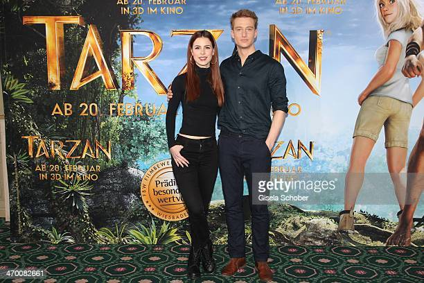 Lena MeyerLandrut Alexander Fehling attend the 'Tarzan' photocall at Hotel Bayerischer Hof on February 18 2014 in Munich Germany