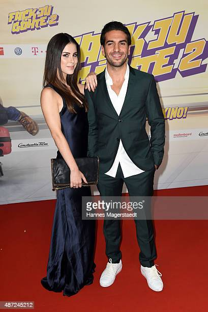 Lena MeyerLandrut and Elyas M'Barek attend the 'Fack ju Goehte 2' Munich Premiere at Mathaeser Filmpalast on September 7 2015 in Munich Germany
