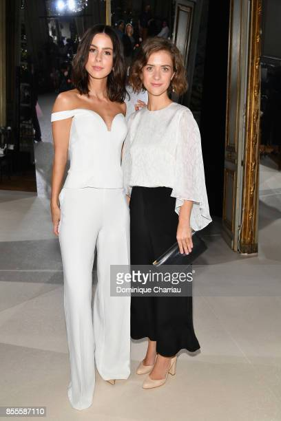 Lena MeyerLandrut and Liv Lisa Fries attend the Kaviar Gauche Bridale Couture Collection 2018 'La Vie En Rose' as part of the Paris Fashion Week...
