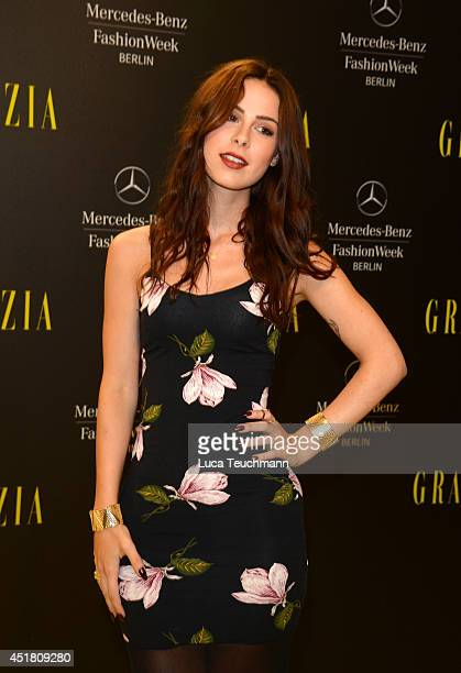 Lena MeyerLandrut arrives for the Opening Night by Grazia fashion show during the MercedesBenz Fashion Week Spring/Summer 2015 at Erika Hess...