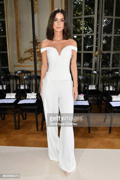 Lena MeyerLandrut attends the Kaviar Gauche Bridale Couture Collection 2018 'La Vie En Rose' as part of the Paris Fashion Week Womenswear...