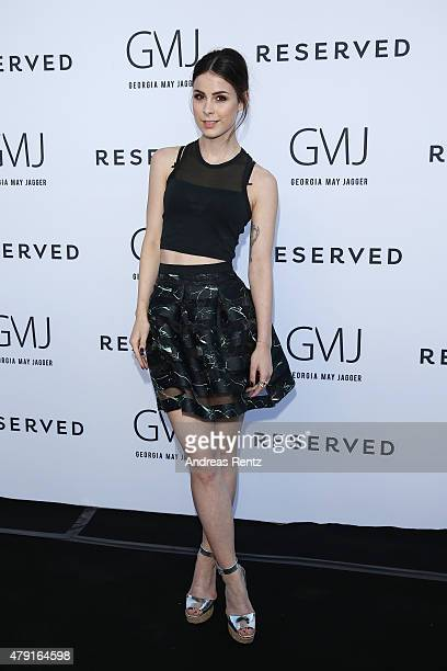 Lena MeyerLandrut attends the RESERVED collection preview seated dinner at upside east on July 1 2015 in Munich Germany
