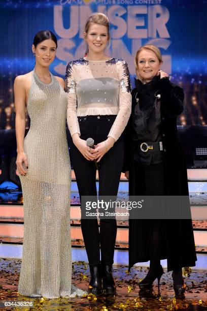 Lena MeyerLandrut Isabella 'Levina' Lueen and Nicole pose during the 'Eurovision Song Contest 2017 Unser Song' show on February 9 2017 in Cologne...