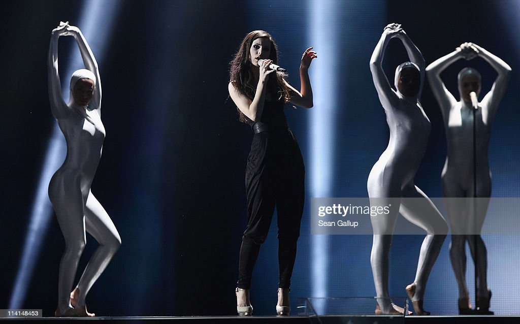 Lena Meyer-Landrut of Germany performs during the dress rehearsal ahead of the finals of the 2011 Eurovision Song Contest on May 13, 2011 in Duesseldorf, Germany.