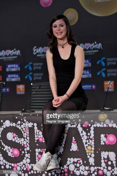 Lena MeyerLandrut of Germany poses during a press conference the day before the Eurovision final at the Telenor Arena on May 28 2010 in Oslo Norway...