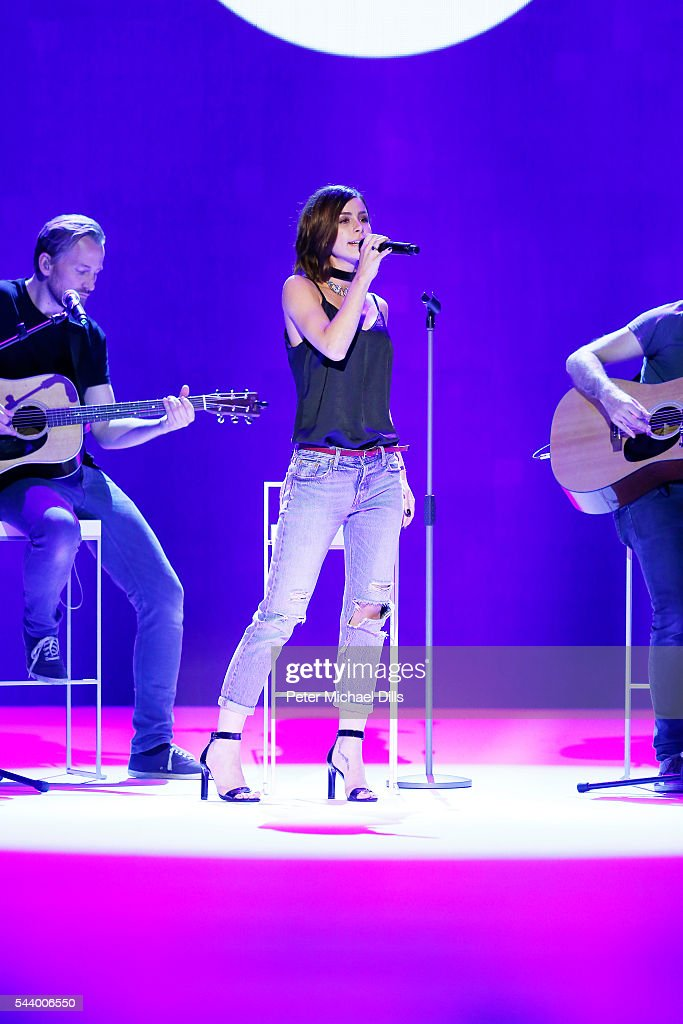 <a gi-track='captionPersonalityLinkClicked' href=/galleries/search?phrase=Lena+Meyer-Landrut+-+German+Singer&family=editorial&specificpeople=6837968 ng-click='$event.stopPropagation()'>Lena Meyer-Landrut</a> performs at the Mareike Massing show (DfT winner 2015), 'Designer for Tomorrow' by Peek & Cloppenburg and Fashion ID, during the Mercedes-Benz Fashion Week Berlin Spring/Summer 2017 at Erika Hess Eisstadion on June 30, 2016 in Berlin, Germany.