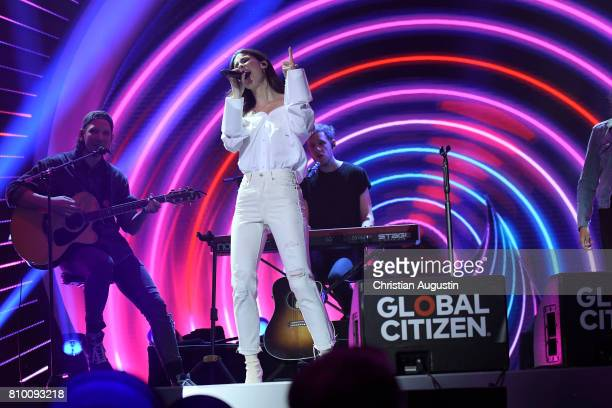 Lena MeyerLandrut performs during the Global Citizen Festival at the Barclaycard Arena on July 6 2017 in Hamburg Germany