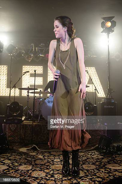 Lena MeyerLandrut performs on stage at Theaterfabrik on April 3 2013 in Munich Germany