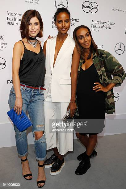 Lena MeyerLandrut Sara Nuru and Hadnet Tesfai attend the 'Designer for Tomorrow' show during the MercedesBenz Fashion Week Berlin Spring/Summer 2017...