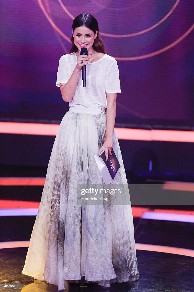 Lena Meyer-Landrut, wearing an outfit by H&M Conscious Exclusive, attends the Echo Award 2015 show on March 26, 2015 in Berlin, Germany.