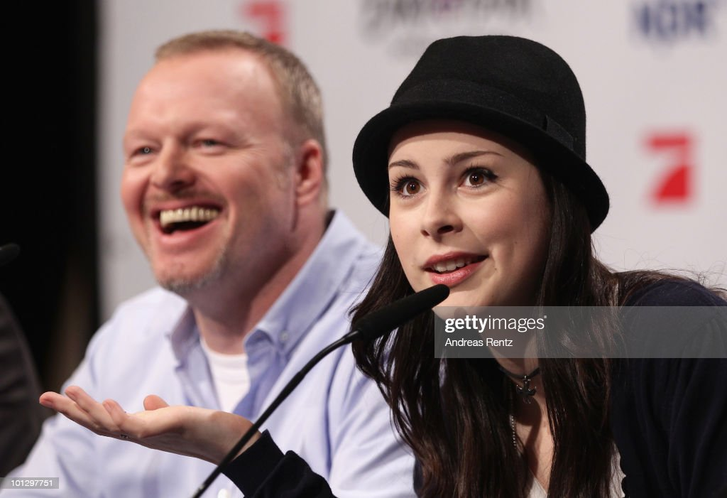 Lena Meyer-Landrut, winner of the Eurovision Song Contest 2010 and her mentor TV host Stefan Raab attend a press conference on May 31, 2010 in Cologne, Germany. The 19-year-old Lena won the annual song contest in Oslo with the song 'Satellite', receiving 246 points. After 28 years, Germany has won the Eurovision Song Contest for the second time in the event's history.