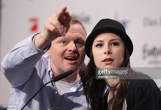Lena MeyerLandrut winner of the Eurovision Song Contest 2010 and her mentor TV host Stefan Raab attend a press conference on May 31 2010 in Cologne...
