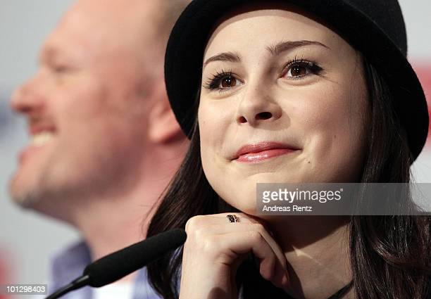 Lena MeyerLandrut winner of the Eurovision Song Contest 2010 and TV host and her mentor Stefan Raab attend a press conference on May 31 2010 in...