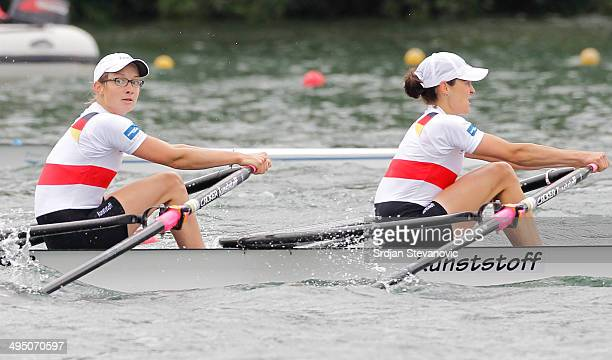 Lena Mueller and Anja Noske of Germany compete during the Lightweight Women's Double Sculls final during day three of the 2014 European Rowing...