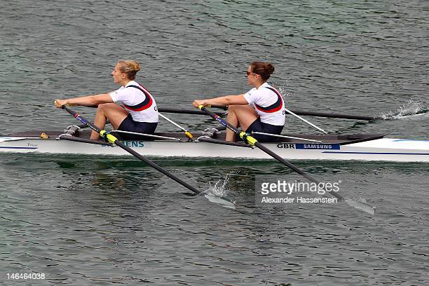 Lena Mueller and Anja Noske of Germany compete in the Lightweight Women`s Double Sculls final during the 2012 Samsung World Rowing Cup III at the...