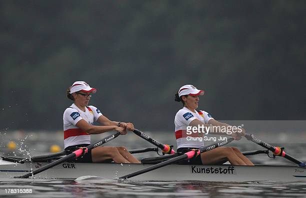 Lena Mueller and Anja Noske of Germany compete in the Lightweight Women's Double Sculls semifinal during day five of the 2013 World Rowing...
