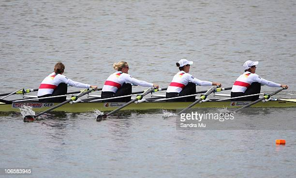 Lena Mueller Daniela Reimer Anja Noske and MarieLouise Draeger of Germany race in the Women's Lightweight Quadruple Sculls Final during day seven of...
