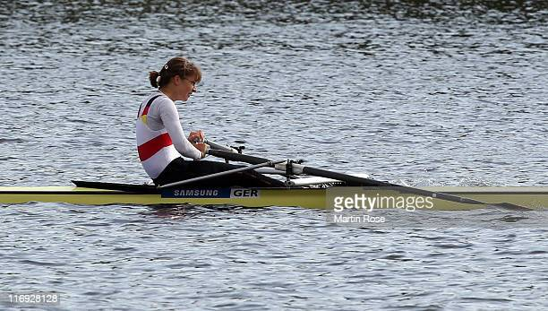Lena Mueller of Germany rows in the women's lightweight single sculls final during the of the FISA Rowing World Cup on June 18 2011 in Hamburg Germany