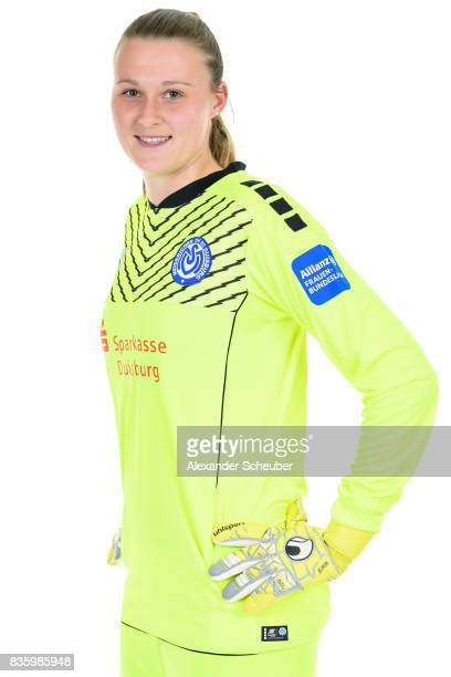 Lena Nuding of MSV Duisburg poses during the Allianz Frauen Bundesliga Club Tour at MSV Duisburg on August 17 2017 in Duisburg Germany