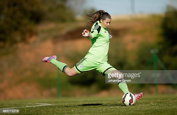 Lena Pauels goalkeeper of Germany in action during the women's U19 international friendly match between Sweden and Germany on March 5 2015 in La...