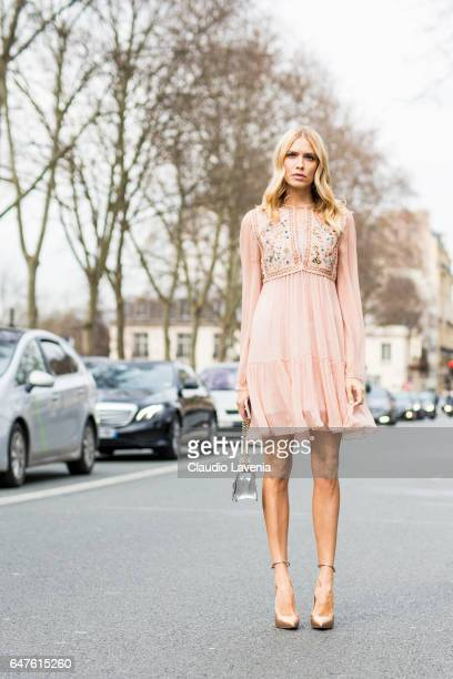 Lena Perminova is seen in the streets of Paris before the Christian Dior show during Paris Fashion Week Womenswear Fall/Winter 2017/2018 on March 3...