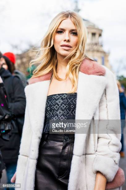Lena Perminova is seen in the streets of Paris before the Miu Miu show during Paris Fashion Week Womenswear Fall/Winter 2017/2018 on March 7 2017 in...