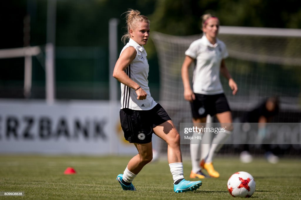 Lena Petermann controls the ball during the training session on July 6, 2017 in Heidelberg, Germany.
