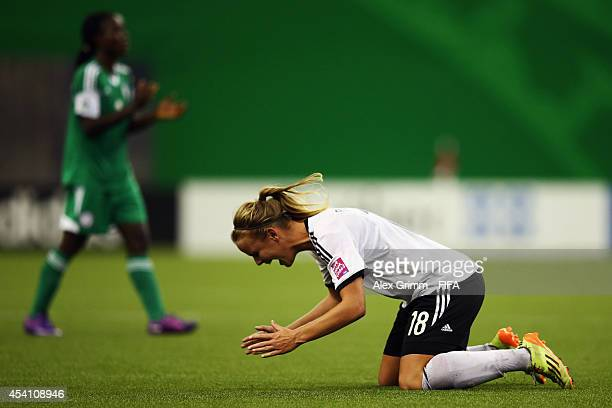 Lena Petermann of Germany celebrates after the final whistle of the FIFA U20 Women's World Cup Canada 2014 final match between Nigeria and Germany at...
