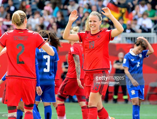Lena Petermann of Germany celebrates scoring her team's second goal during the FIFA Women's World Cup 2015 Group B match between Thailand and Germany...