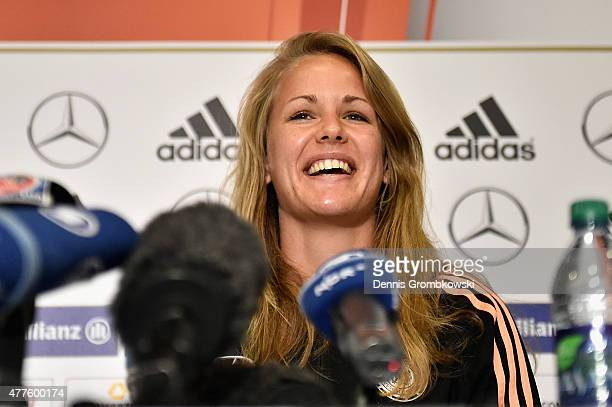 Lena Petermann of Germany faces the media during a press conference at The Westin Hotel on June 18 2015 in Ottawa Canada