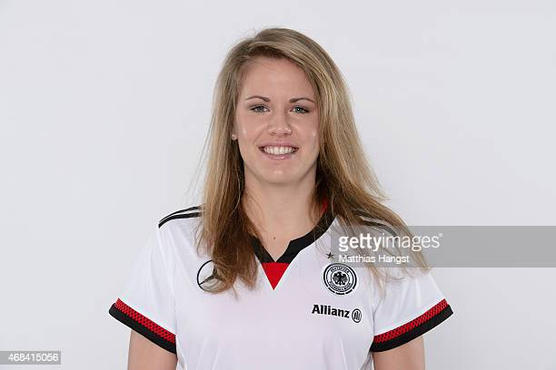 Lena Petermann of Germany poses for a portrait during the DFB Women's Marketing Day at the CommerzbankArena on January 15 2015 in Frankfurt am Main...