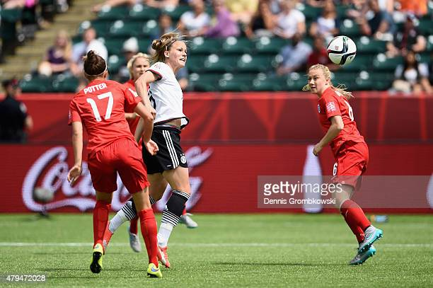 Lena Petermann of Germany takes a header at goal during the FIFA Women's World Cup Canada 2015 Third Place Playoff match between Germany and England...