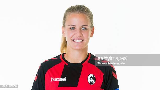 Lena Petermann of SC Freiburg poses during the Allianz Women's Bundesliga Club Tour on August 31 2016 in Freiburg im Breisgau Germany
