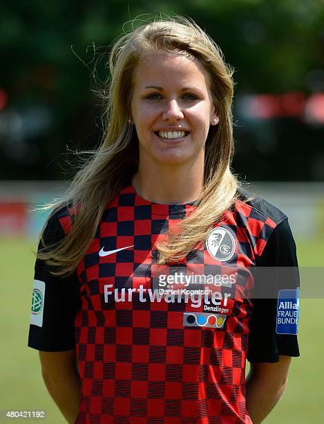 Lena Petermann poses during SC Freibug women's team presentation on July 11 2015 in Freiburg im Breisgau Germany