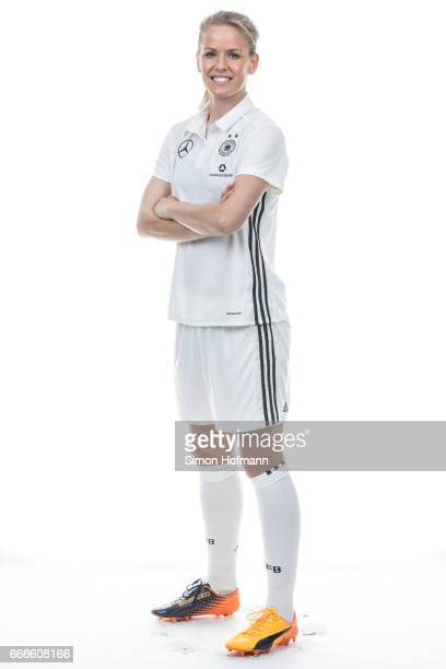 Lena Petermann poses during the DFB Ladies Marketing Day on April 4 2017 in Frankfurt am Main Germany