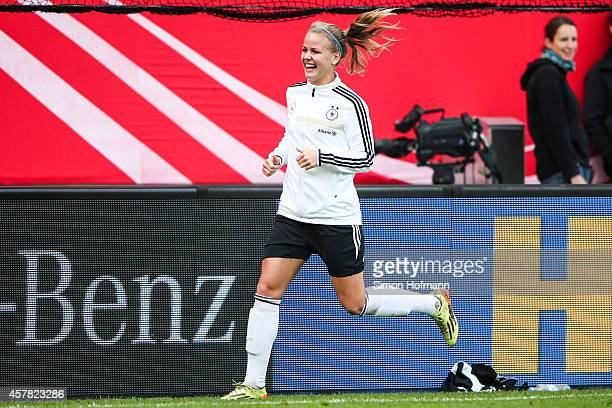Lena Petermann smiles during a Germany Women's Training Session on October 24 2014 in Offenbach Germany